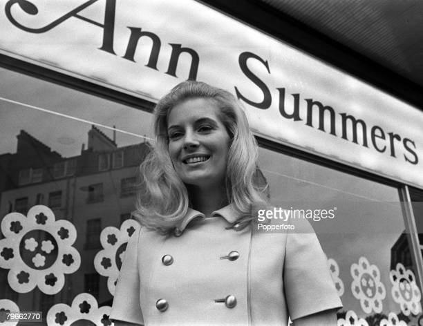 London England 9th September 1970 Portrait of Anne Summers standing outside her first sex shop