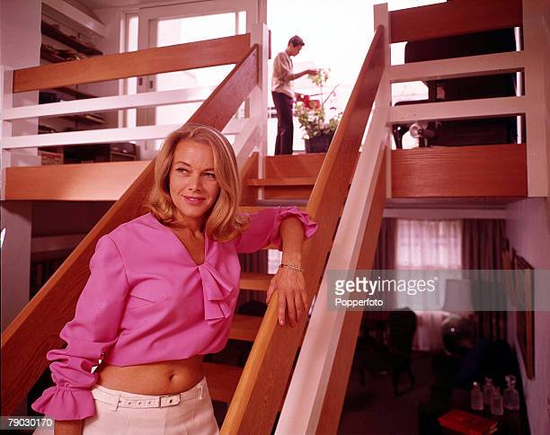1966 London England A picture of British actress Honor Blackman and her husband Maurice Kaufman at home