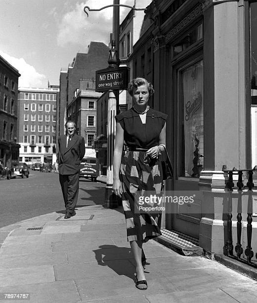 1951 London England A picture of Swedish film and stage actress Ingrid Bergman walking down the street