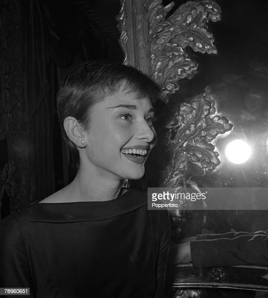 London England A profile portrait of actress Audrey Hepburn at a press reception at the Dorchester Hotel
