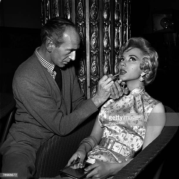 "London, England Actress Carole Lesley is pictured being made up on the set of film ""Those Dangerous Years"""
