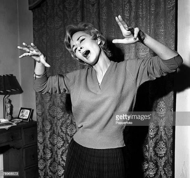 London, England Actress Carole Lesley is pictured singing