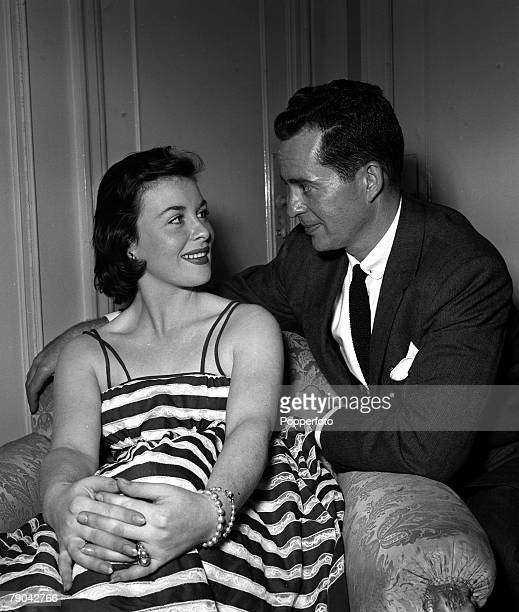 London England Actress Constance Smith and American actor Larry Parks are pictured at a press reception at the Mayfair Hotel