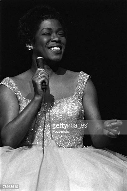 London England American singer Sarah Vaughan is pictured performing at the Royal Festival Hall