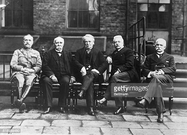 London, England- An exclusive photograph of the premiers of the Allied countries with Marshal Ferdinand Foch and Italian Foreign Secretary Sonnino in...