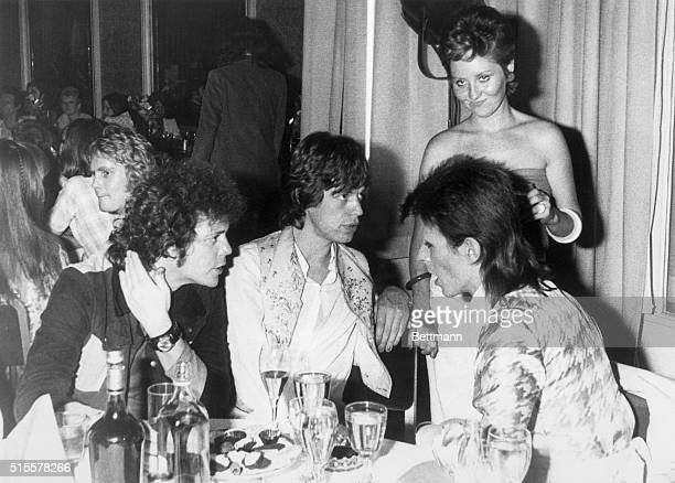 7/4/1973 London England At the party given by pop star David Bowie at the Cafe Royal here following Bowie's final public concert American singer Lou...