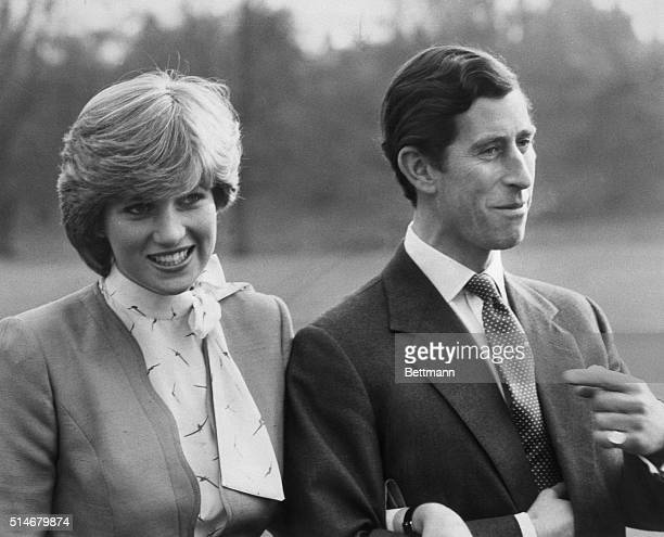 2/27/1981 London England Britain's Prince Charles and Lady Diana Spencer pose for photographers outside Buckingham Palace February 24th after the...