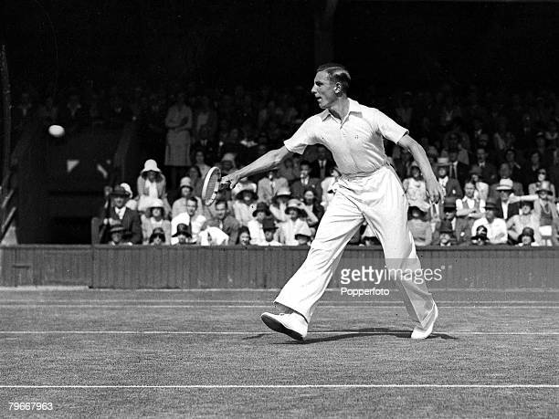 London, England, British tennis player Fred Perry in action during match at the Wimbledon Championships in the 1930's
