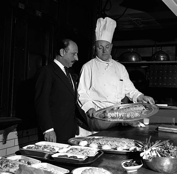 London England Charles Forte is pictured with the chef at the Cafe Royal