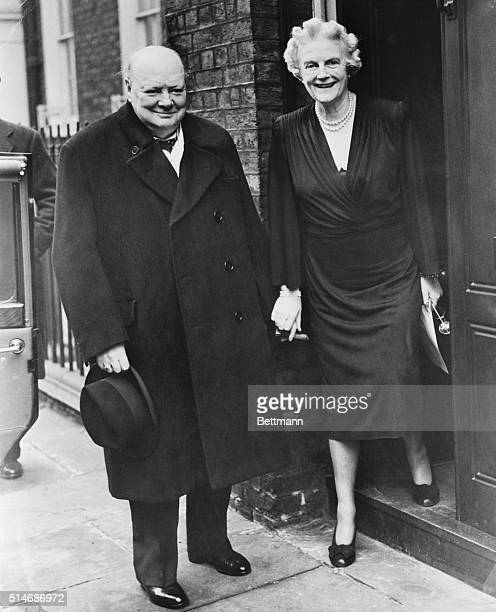 12/4/1947 London England Churchill celebrates 73rd birthday Winston Churchill Britain's great war leader and former Prime Minister is greeted by his...