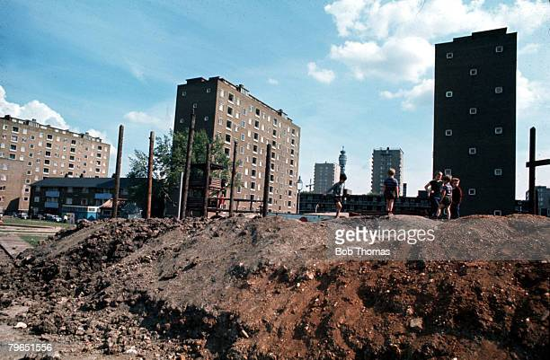 London England Circa 1970's Children are pictured playing next to Tower Blocks