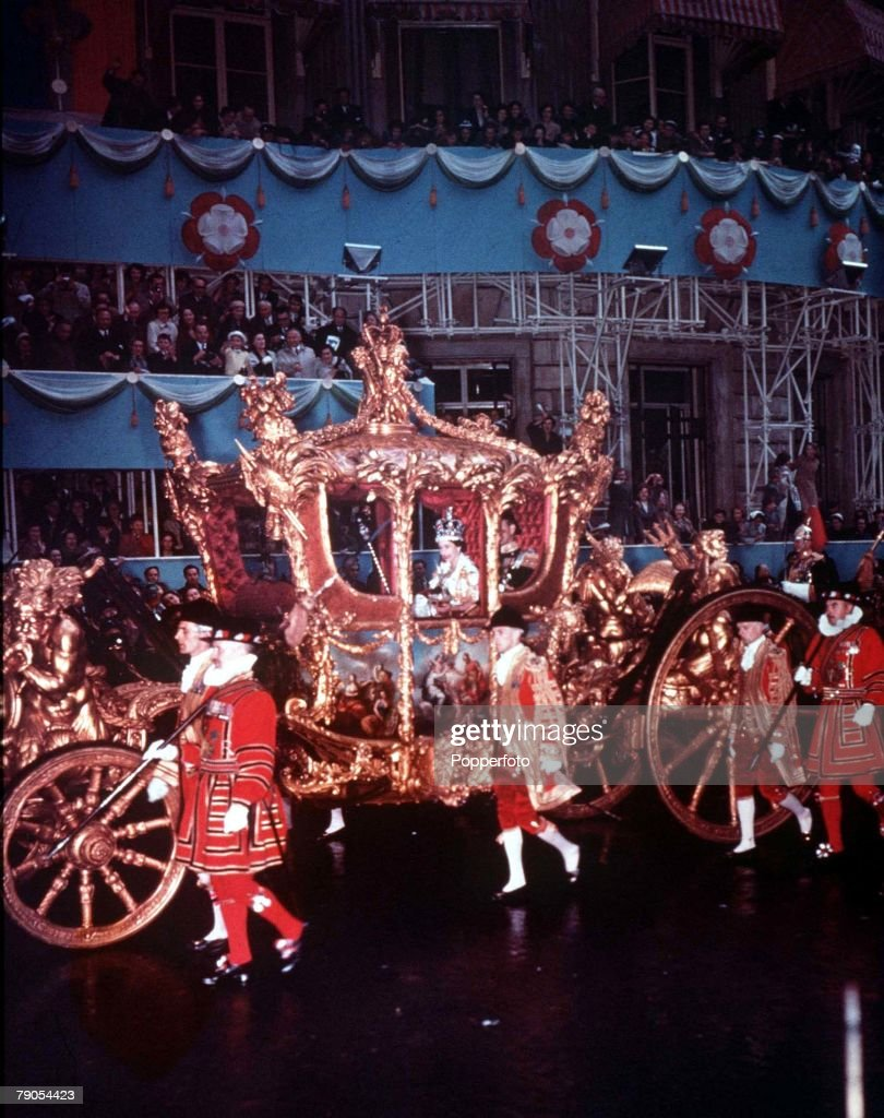 1953. London, England. Coronation of Queen Elizabeth II. The Queens ornate coach in Piccadilly. : News Photo