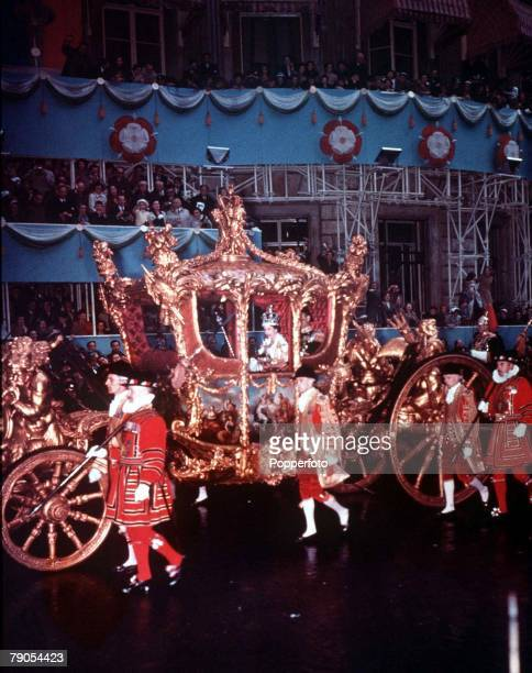 1953 London England Coronation of Queen Elizabeth II The Queens ornate coach in Piccadilly