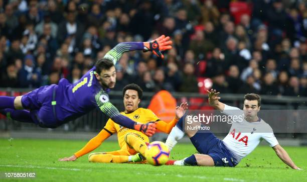 London England December 29 2018 Wolverhampton Wanderers' Helder Costo beats Tottenham Hotspur's Hugo Lloris and scores 3rd goal during Premier League...