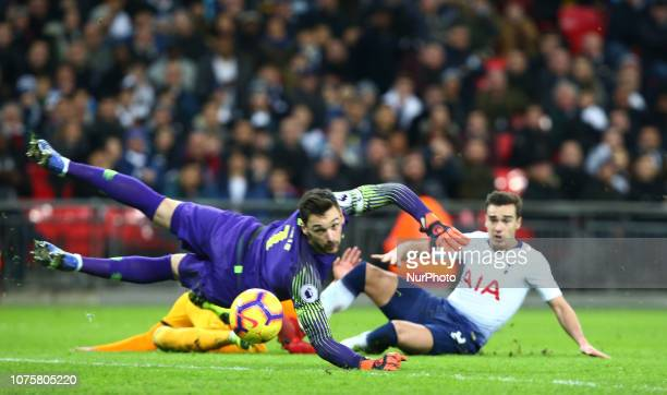 London England December 29 2018 Wolverhampton Wanderers' Helder Costo beats Tottenham Hotspur's Hugo Lloris scores his sides third goal during...