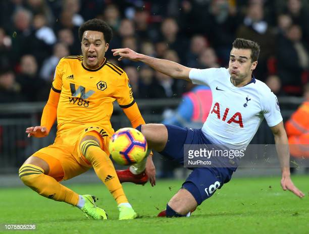 London England December 29 2018 Wolverhampton Wanderers' Helder Costo scores his sides third goal during Premier League between Tottenham Hotspur and...