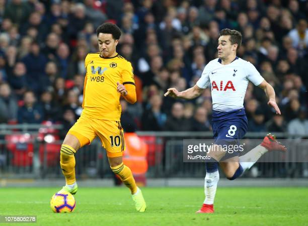 London England December 29 2018 Wolverhampton Wanderers' Helder Costo beats Tottenham Hotspur's Harry Winks during Premier League between Tottenham...