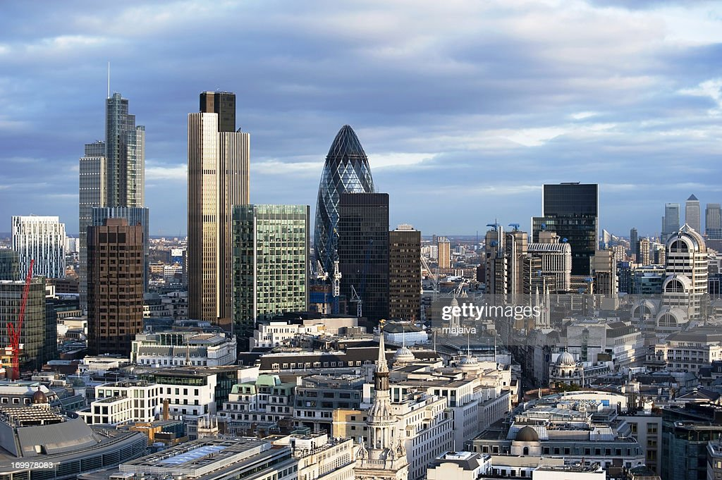 London, England financial district landscape during the day : Stock Photo
