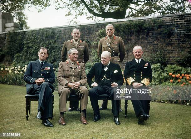 5/8/1945 London England In the garden at 10 Downing Street Seated Marshal of the Royal Air Force Sir Charles Portal Chief of Air Staff Field Marshal...