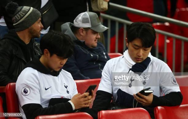 London England January 08 2019 Tottenham Hotspur Fan during during Carabao Cup Semi Final 1st Leg between Tottenham Hotspur and Chelsea at Wembley...