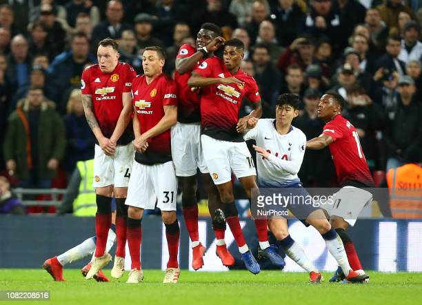 London England January 13 2019 LR Manchester United's Phil Jones Manchester United's Nemanjo Matic Manchester United's Paul Pogba Manchester United's...