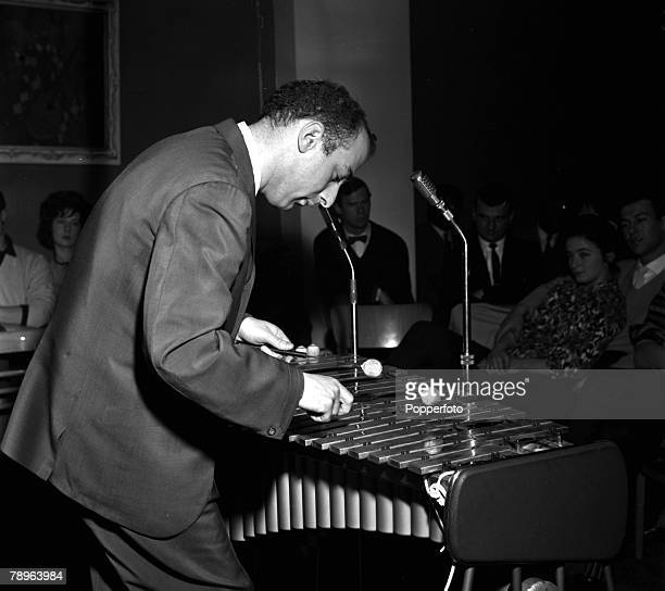London England Jazz musician Victor Feldman is pictured performing on the glockenspiel at Ronnie Scott's Club