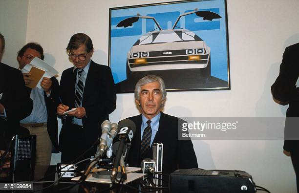 John De Lorean of sports cars company closeups of press conference company declared insolvent in North Ireland after British Government refused to...