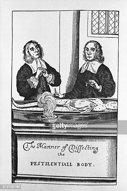 London doctors looking for the cause of the plague by dissecting its victims From George Thompson's Loimotomia or the Pest Antatomised 1666