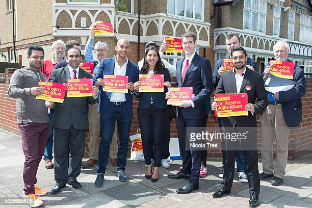 London England May 20th 2016 Labour MP Chuka Umunna campaigning in Tooting with Matthew Pennycook Labour MP for Greenich and Rosena Allin Khan for...