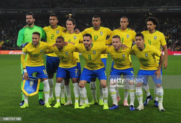 London England November 16 2018 Brazilian Team during Chevrolet Brazil Global Tour International Friendly between Brazil and Uruguay at Emirates...