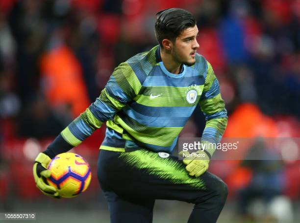 London England October 29 2018 Manchester City's Arijanet Muric during the prematch warmup during Premier League between Tottenham Hotspur and...