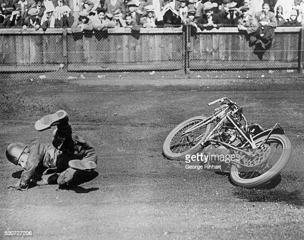 Photo shows L Green shows his heels after taking a bad spill during the Handicap Race at King's Oak Speedway High Beech