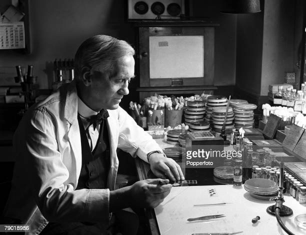 London England Portrait of Professor Alexander Fleming the man who discovered the drug Penicillin at St Marys Hospital