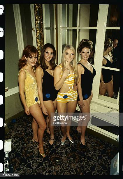 London England Posing in bathing suits for the first time are Miss World contestants Miss Germany Miss South Africa Miss Austria and Miss USA