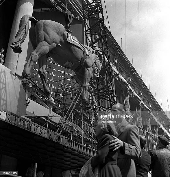 1953 London England Preparation for the Coronation of Queen Elizabeth II Coronation Decorations The highlight of Selfridges Coronation decorations is...