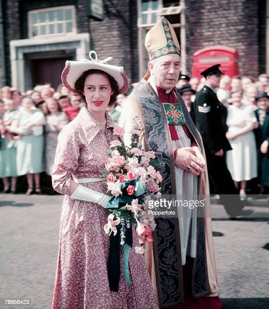 London England Princess Margaret is accompanied by the Bishop of London Dr William Wand at the laying of the foundation stone of a new secondary...
