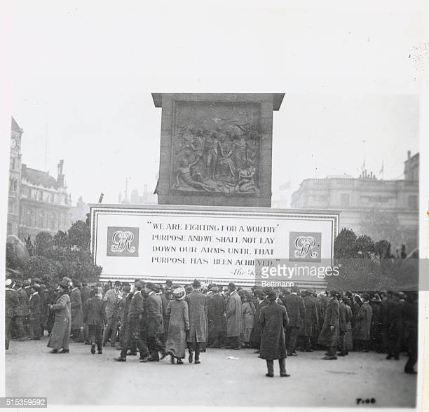 Proclamation of war aims by King George V exhibited in Trafalgar Square London
