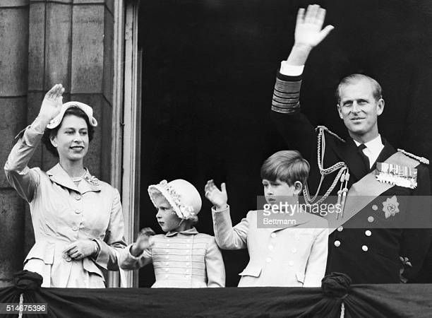 2/27/1981 London England Queen Elizabeth II Princess Anne Prince Charles and the Duke of Edinburgh on a balcony at Buckingham Palace wave to crowds...