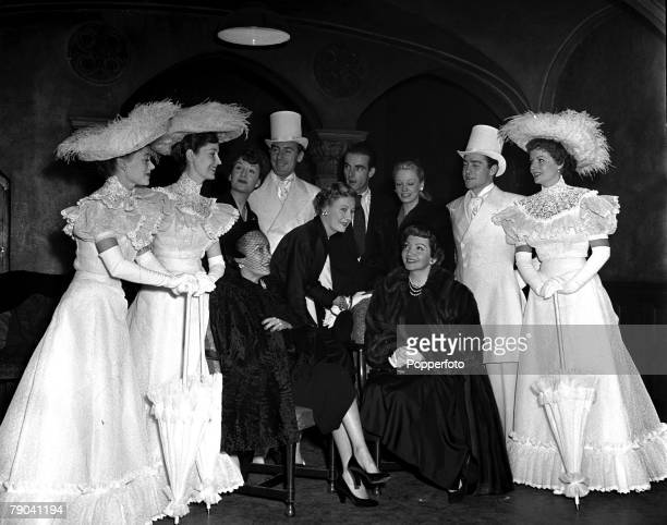London England Royal Command Performance Rehearsal Various actors and actresses are pictured Back LR Glynis Johns Valerie Hobson unknown Michael...
