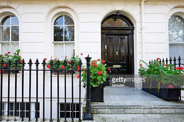 London England Typical White Stucco Georgian Style Row House Belgravia