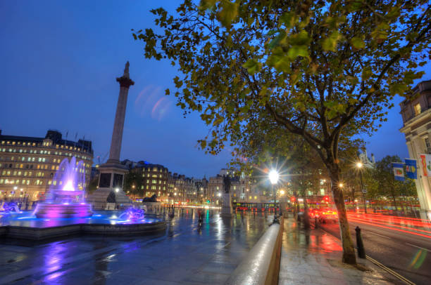 London England UK, A iconic London landmark Nelson's Column on Trafalgar Square