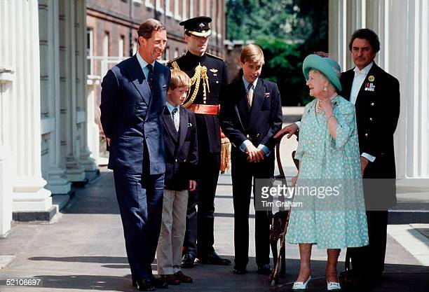 London England United Kingdom Prince Charles Prince Harry Prince William The Queen Mother And Her Butler William Tallon Outside Her Home Clarence...