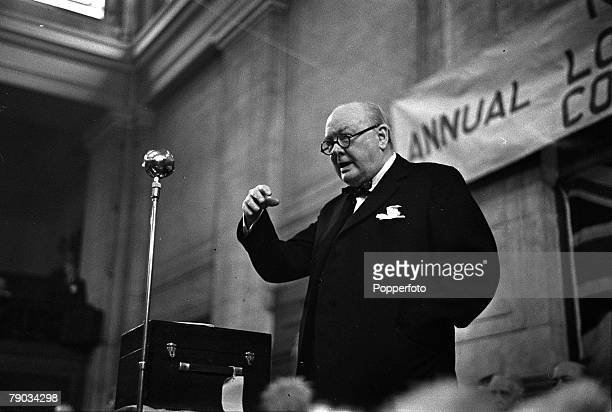 London England Winston Churchill the Conservative politician and British Prime Minister between the years 194045 and 195155 is pictured speaking at...