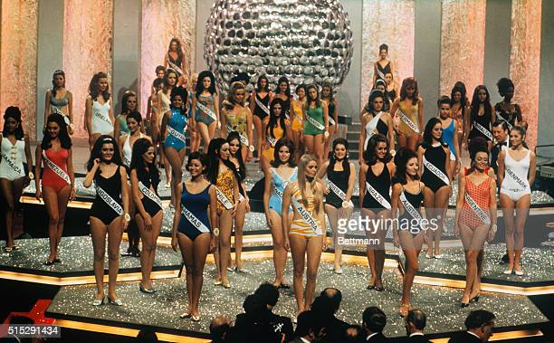 Entrants in Miss World 1969 contest stand in bathing suits during finals of contest at Royal Albert Hall here Winner was Miss Austria Eva Rueber...