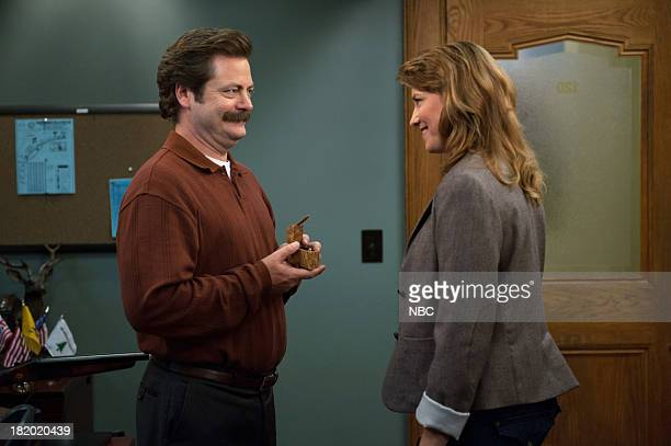 RECREATION 'London' Episode 601/602 Pictured Nick Offerman as Ron Swanson Lucy Lawless as Diane Lewis