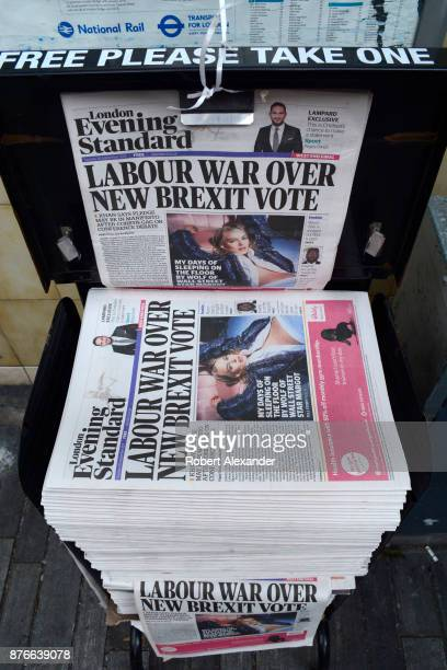 London Evening Standard newspapers are distributed on a busy street corner in London England The free daily tabloid newspaper is owned by Russian...