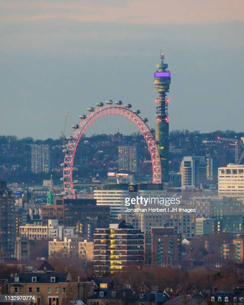 london eye and bt tower - greater london stock pictures, royalty-free photos & images
