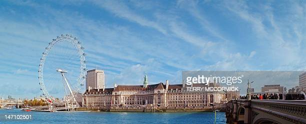 london eye and county hall - london aquarium stock photos and pictures
