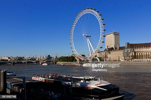 London Eye and River Thames in the evening, London, England.