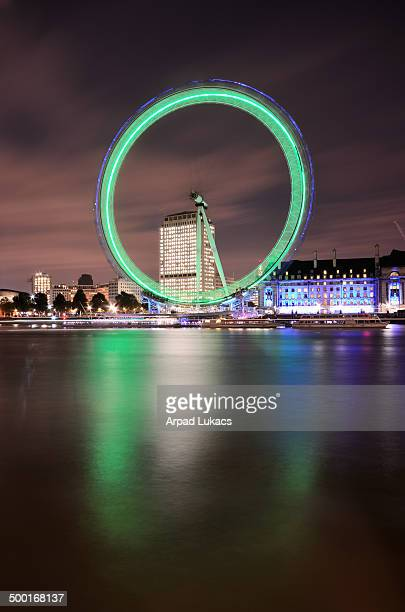 London Eye captured on a rare evening when the lighting was displayed in green.
